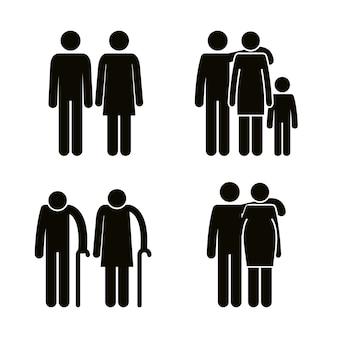 Grupo de membros da família avatares silhuetas