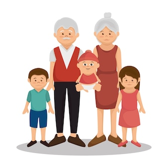 Grupo de membros da família personagens ilustração vetorial design
