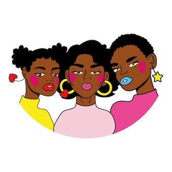 Grupo de meninas afro com estilo pop art