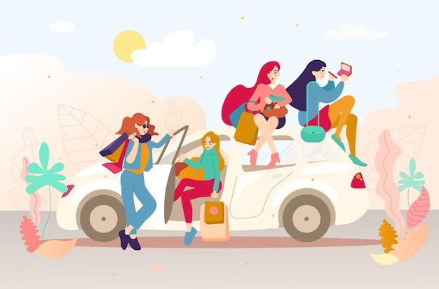 Grupo de meninas com sacos depois de fazer compras em um carro.