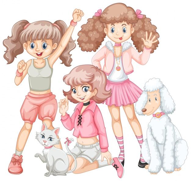 Grupo de meninas e animais de estimação