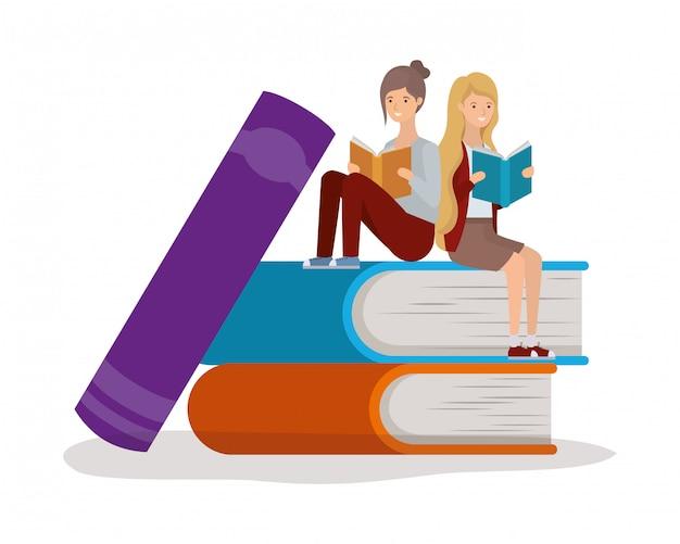 Grupo de meninas estudantes lendo livros