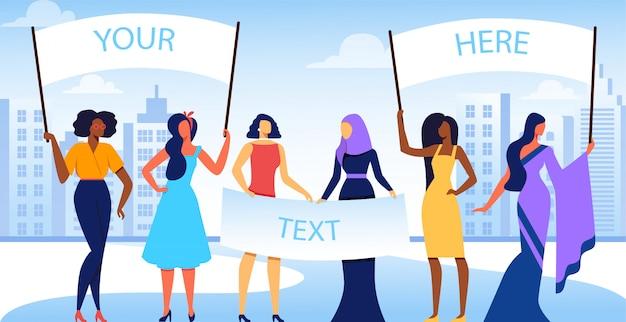 Grupo de meninas internacionais e inter-raciais diversificadas.