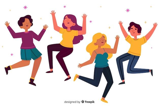 Grupo de meninas pulando juntos