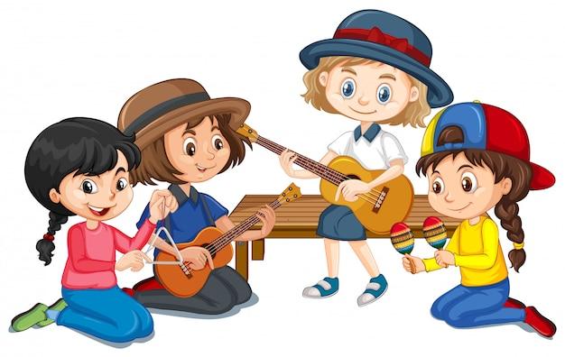 Grupo de meninas tocando instrumentos diferentes