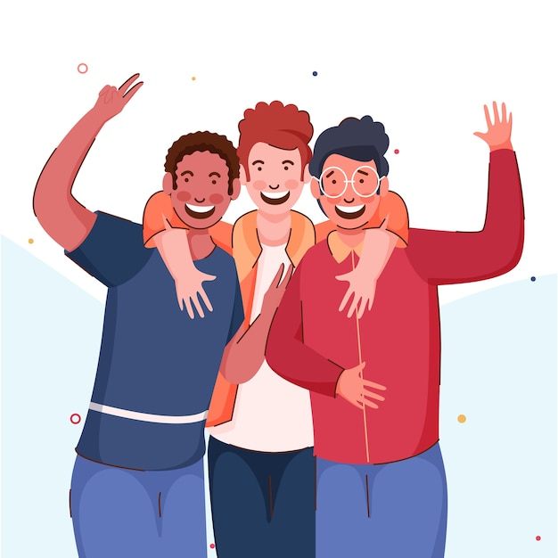 Grupo de meninos alegres se abraçando