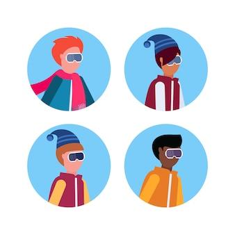 Grupo de meninos em roupas de inverno