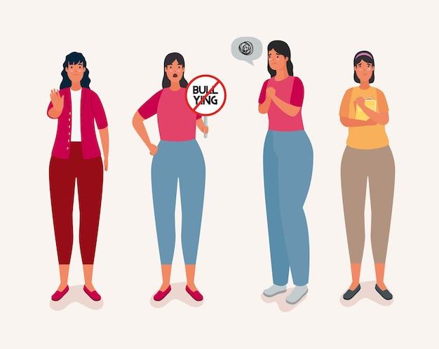 Grupo de mulheres afetadas por bullying