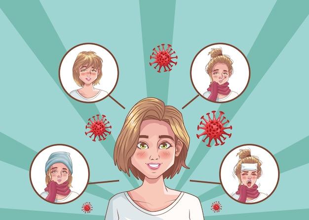 Grupo de mulheres com ilustração de cena de coronavírus