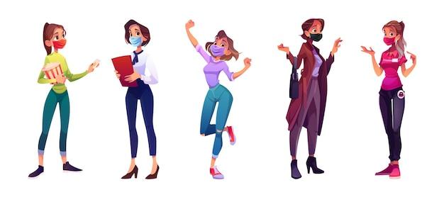 Grupo de mulheres com máscaras faciais