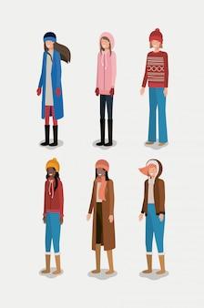 Grupo de mulheres com roupas de inverno