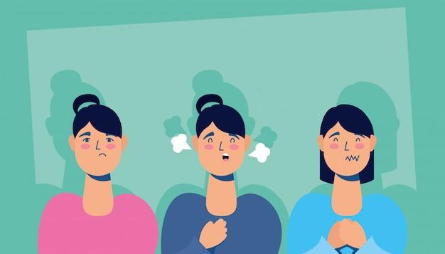 Grupo de mulheres com sintomas de coronavírus