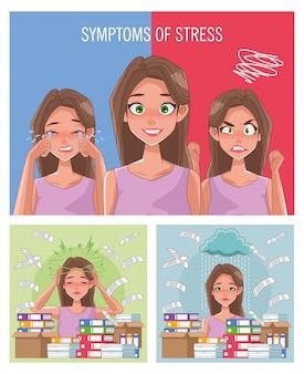 Grupo de mulheres com sintomas de estresse e documentos de pilha