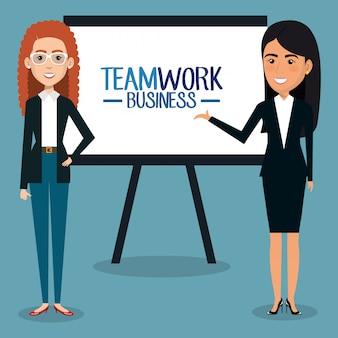 Grupo de mulheres de negócios com ilustração de trabalho em equipe de papelão
