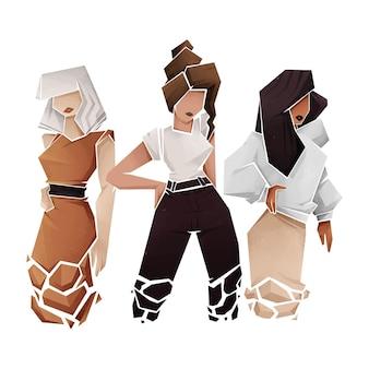 Grupo de mulheres desenhado à mão abstrata