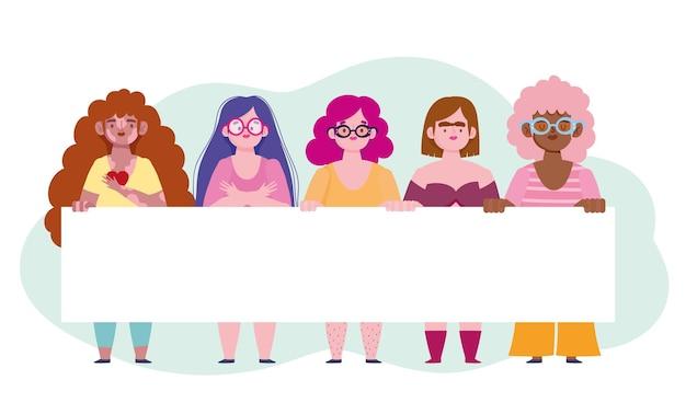 Grupo de mulheres diversas com ilustração de amor próprio de personagem de desenho animado