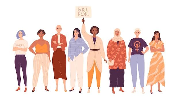 Grupo de mulheres diversas em comprimento total