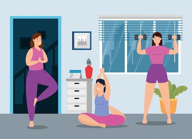 Grupo de mulheres em casa treino vector design ilustração