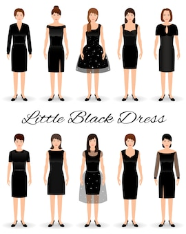 Grupo de mulheres em pequenos vestidos pretos. conjunto de vestidos de cocktail em um modelo.