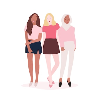 Grupo de mulheres fortes vector