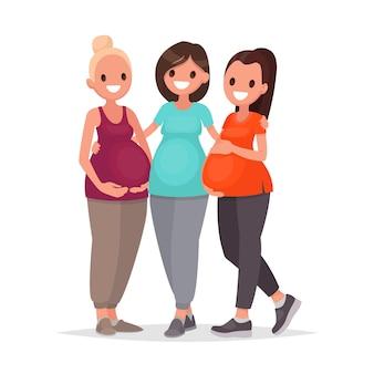 Grupo de mulheres grávidas está abraçando em pé sobre um branco. cursos de gestantes. esperando pelo bebê. em estilo simples