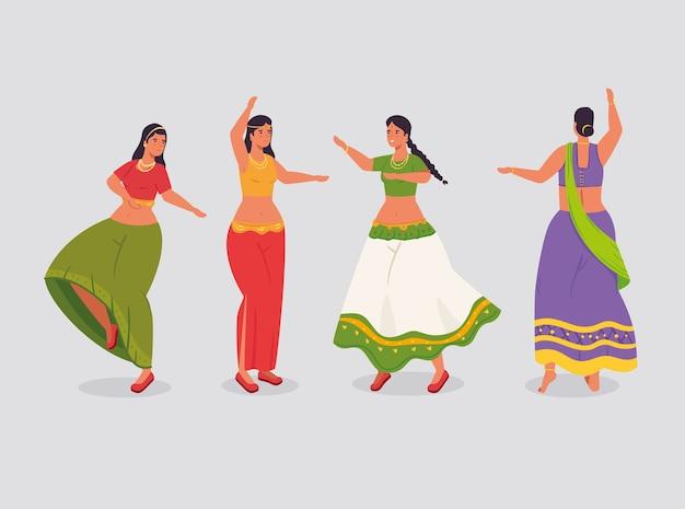 Grupo de mulheres indianas com design de ilustração de dança tradicional de roupas