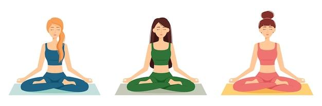 Grupo de mulheres meditadoras. meninas em posição de lótus praticando ioga, ilustração vetorial