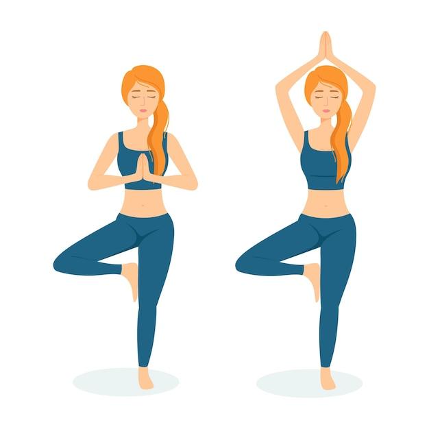 Grupo de mulheres meditadoras. meninas praticando ioga, ilustração vetorial