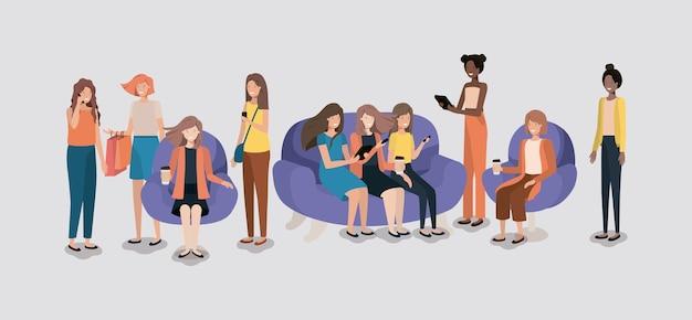 Grupo de mulheres na sala de estar usando a tecnologia