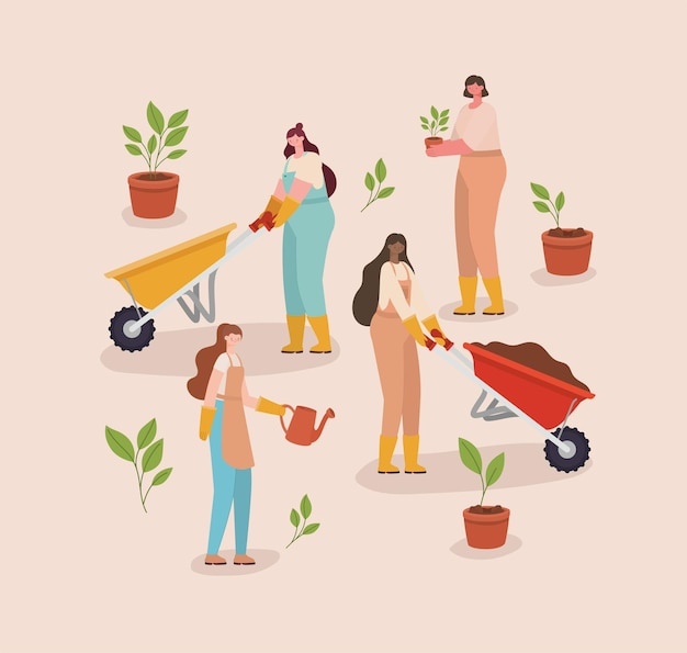 Grupo de mulheres plantadoras