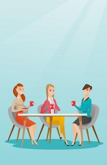 Grupo de mulheres que bebem bebidas quentes e alcoólicas.