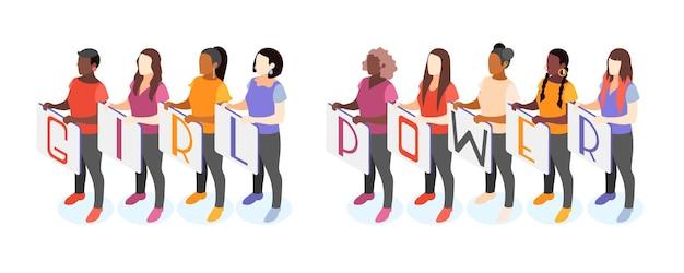 Grupo de mulheres segurando cartazes com a inscrição girl power