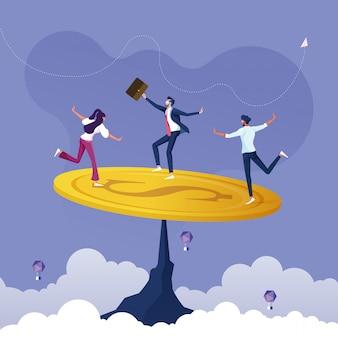 Grupo de negócios tentando equilibrar uma moeda de dólar-poupar dinheiro para equilibrar o conceito