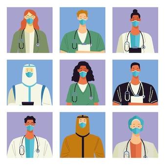 Grupo de nove personagens médicos da equipe médica