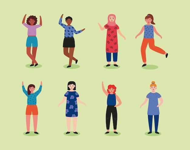 Grupo de oito mulheres jovens em pé ilustração de personagens de avatares