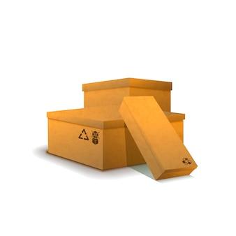 Grupo de pacotes de papelão com sinais de carga em branco