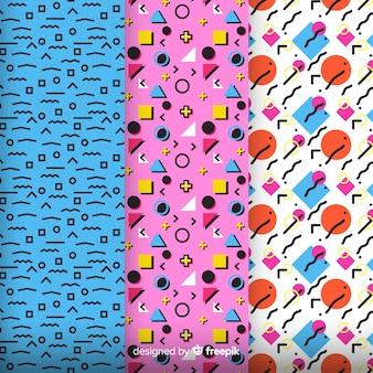 Grupo de padrão colorido de memphis