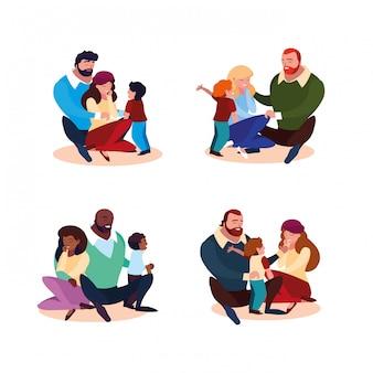 Grupo de pais com filhos família