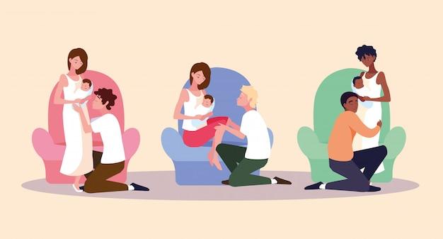 Grupo de pais com personagem de avatar de bebê