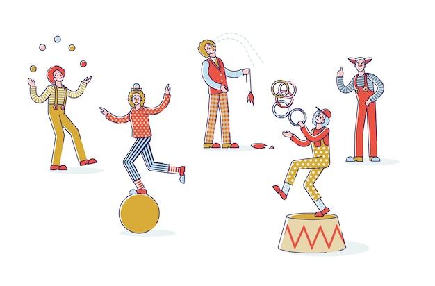 Grupo de palhaços de desenho animado em fundo branco. personagens engraçados de circo