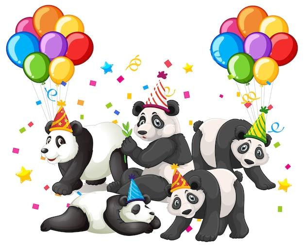 Grupo de pandas em personagem de desenho animado com tema de festa no fundo da floresta