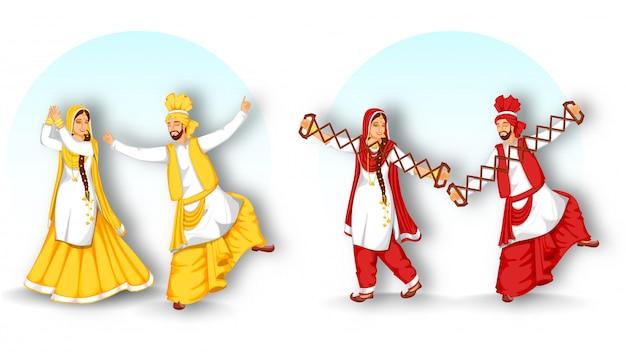 Grupo de pares do punjabi que executam a dança de bhangra com o instrumento de sapp no fundo branco e azul.