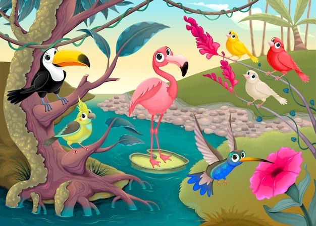 Grupo de pássaros tropicais engraçados na selva