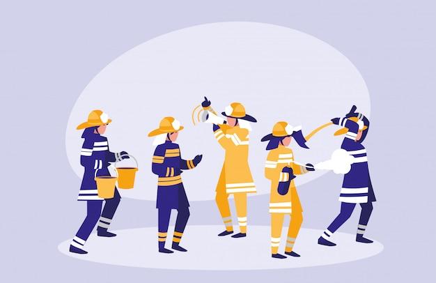 Grupo de personagem de avatar de bombeiros