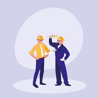 Grupo de personagem de avatar de construtores