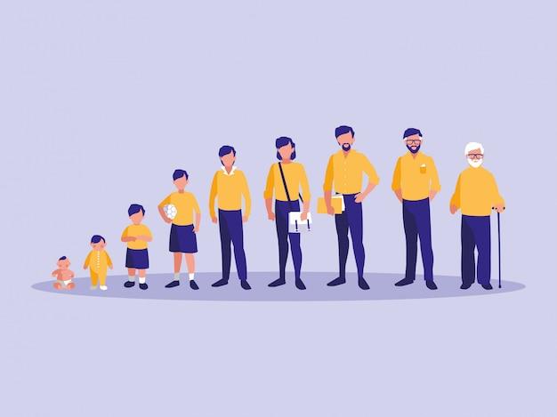 Grupo de personagem de avatar de membros da família