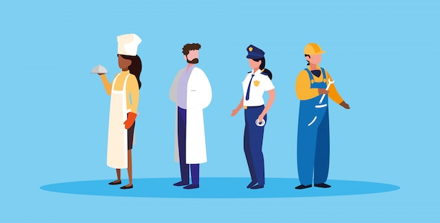 Grupo de personagem de avatar de profissionais