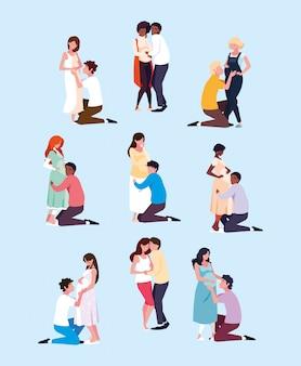 Grupo de personagem de avatar grávida de casais