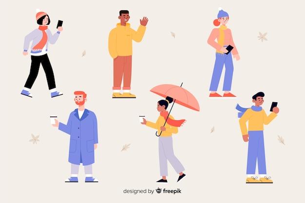 Grupo de personagem vestindo roupas de outono