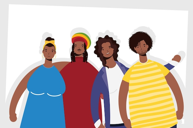 Grupo de personagens afro